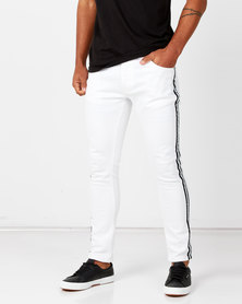 Brave Soul Skinny Fit Jeans with Tape White