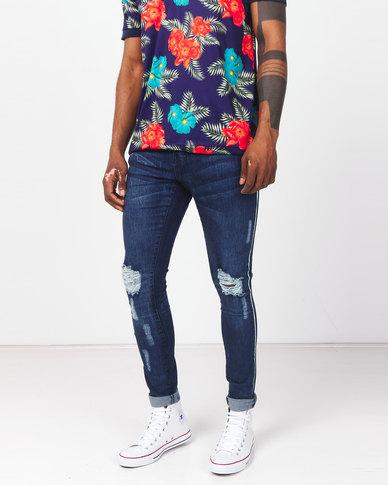 Brave Soul Distressed Denim Jeans with Leg Tape Blue