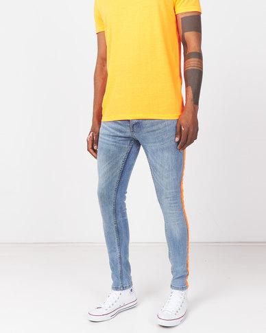 Brave Soul Skinny Fit Denim Jeans with Orange Tape Blue