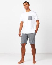 Brave Soul Shorts Sleepwear Set White/Grey