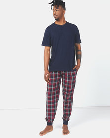 Brave Soul Henley with Check Sleepwear Set Navy/Red Check