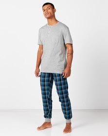 Brave Soul Henley with Check Sleepwear Set Grey/Blue Check