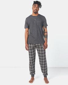 Brave Soul Henley with Check Sleepwear Set Charcoal/Black Check