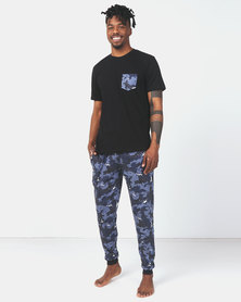 Brave Soul Camo Sleepwear Set Black
