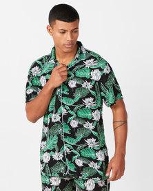 Brave Soul Avicci Leaf Print Short Sleeve Shirt Black