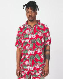 Brave Soul Avicci Leaf Print Short Sleeve Shirt Red