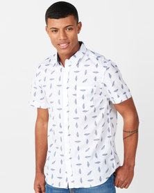 Brave Soul Feather Print Short Sleeve Shirt White