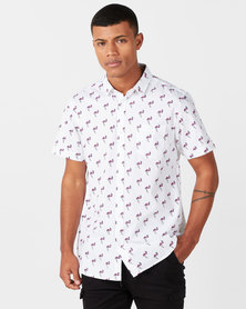 Brave Soul Flamingo Print Short Sleeve Shirt White
