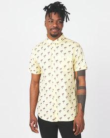 Brave Soul Flamingo Print Short Sleeve Shirt Yellow
