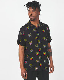 Brave Soul Tiger Print Short Sleeve Shirt Black