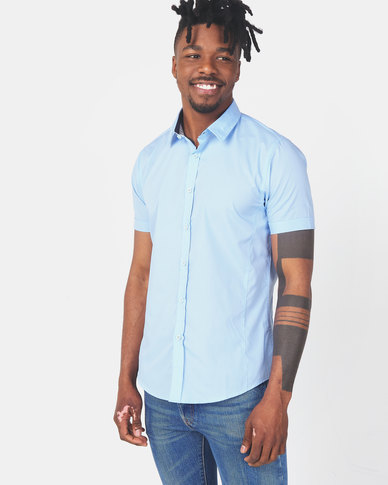 Brave Soul Short Sleeve Shirt With Front Seams Pale Blue