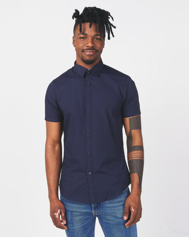 Brave Soul Short Sleeve Shirt With Front Seams Navy