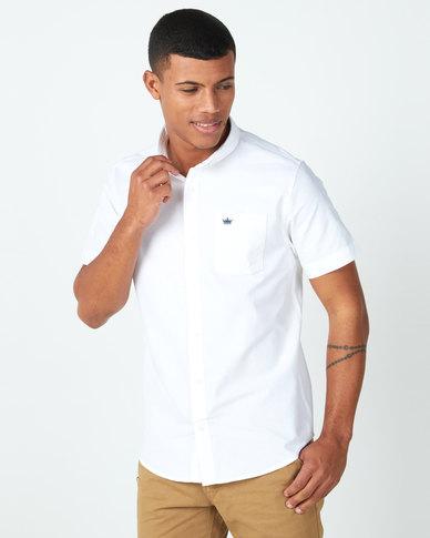 Brave Soul Short Sleeve Oxford Shirt White