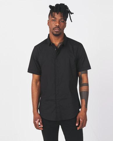 Brave Soul Short Sleeve Stretch Shirt Black