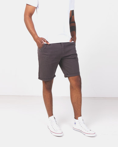 Brave Soul Cotton Twill Shorts Charcoal