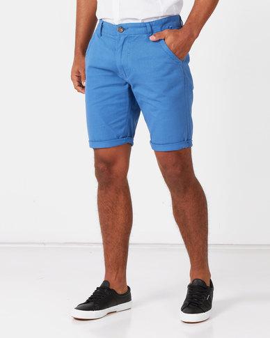 Brave Soul Cotton Twill Shorts Bright Blue