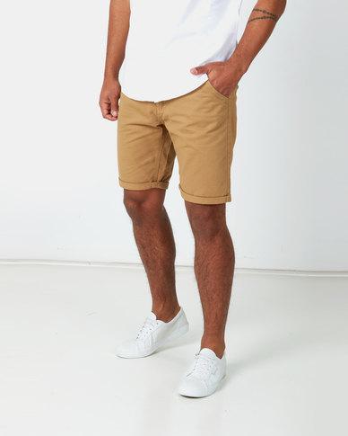 Brave Soul Cotton Twill Shorts Stone