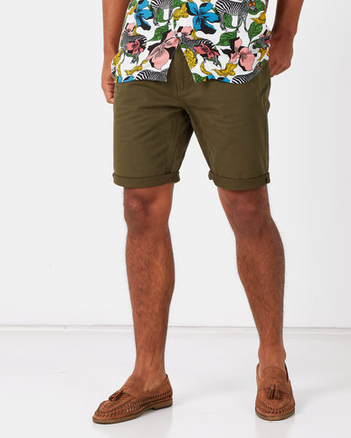 Brave Soul Cotton Twill Shorts Khaki