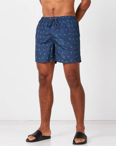Brave Soul Palm Tree Printed Swimshorts Navy