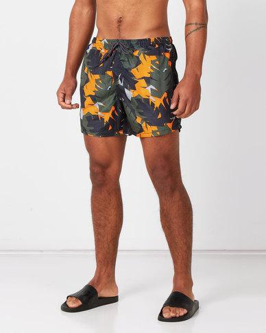 Brave Soul Palm Camo Printed Swimshorts Multi