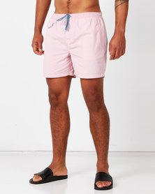 Brave Soul Plain Swimshorts With Pocket Details Pink