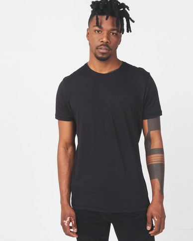 Brave Soul Crew Neck Pocket T-Shirt Black
