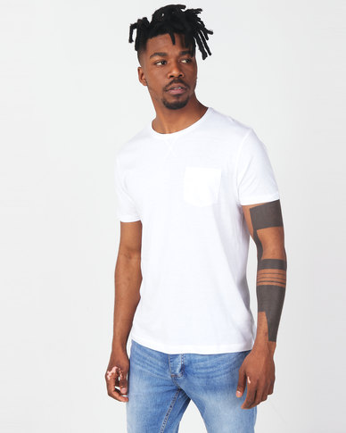 Brave Soul Crew Neck Pocket T-Shirt White
