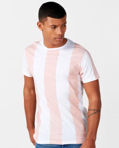 Brave Soul Wide Vertical Stripe T-Shirt Pink/White
