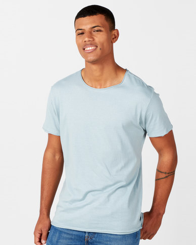 Brave Soul Crew Neck Roll T-Shirt Baby Blue