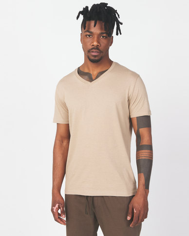 Brave Soul Classic V Neck T-shirt Stone