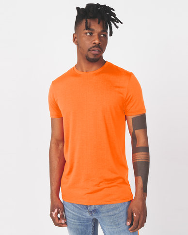 Brave Soul Crew Neck T-Shirt Neon Orange