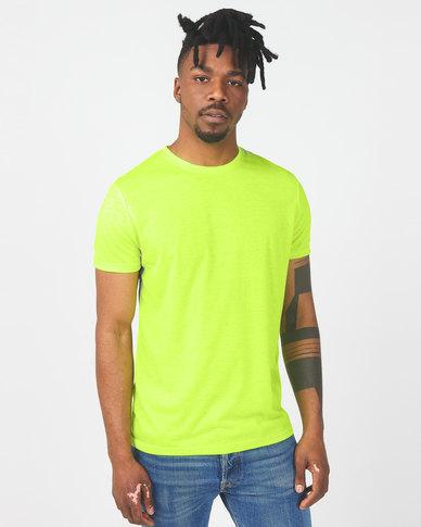 Brave Soul Crew Neck T-Shirt Neon Yellow