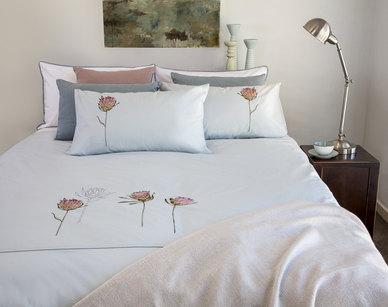 Bella Linen Protea Duck-Egg Embroidered Cotton Percale Duvet Set - Double