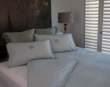 Bella Linen intage Lace and Embroidered Cotton Percale Duvet Set Duck-egg - Double