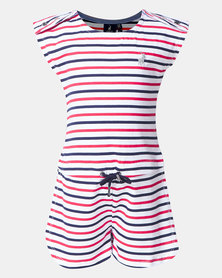 Polo Girls Harper Striped Jumpsuit  White