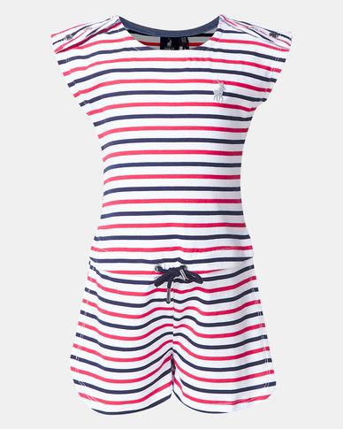 Polo Girls Harper Striped Jumpsuit  White