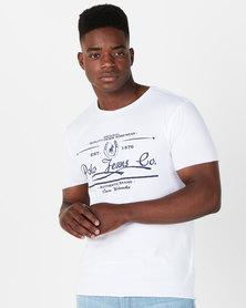 Polo Mens PJC Jake Short Sleeve Printed Logo Tee Off White
