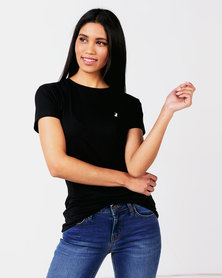 Polo Lds Allie Short Sleeve Small Pony Stretch Tee Black