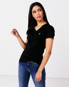 Polo Ladies Kelly Short Sleeve V Neck Stretch Tee Black
