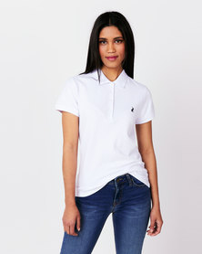 Polo Ladies Margot Short Sleeve Small Pony Stretch Golfer White