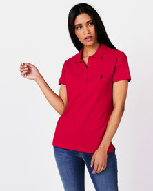 Polo Ladies Margot Short Sleeve Small Pony Stretch Golfer Red