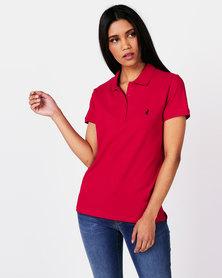 Polo Ladies Margot Short Sleeve Small Pony Stretch Golfer Red
