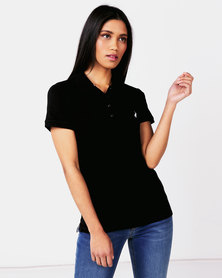 Polo Ladies Margot Short Sleeve Small Pony Stretch Golfer Black