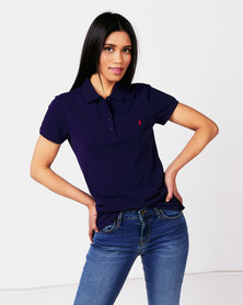 Polo Ladies Margot Short Sleeve Small Pony Stretch Golfer Navy