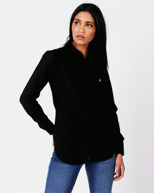 Polo Ladies Amber Long Sleeve Concealed Front Shirt Black