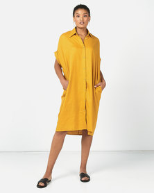 Utopia Linen Shirt Dress Mustard
