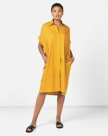 Utopia Linen Shirt Dress Mustard