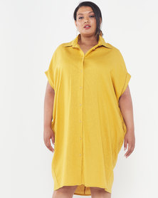 Utopia Plus Linen Shirt Dress Mustard