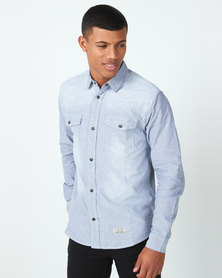 Utopia Chambric Casual Shirt Blue