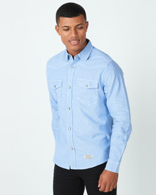 Utopia Chambric Casual Shirt Sky Blue